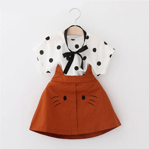 2T Girls Clothes 2019 Summer Toddler Girl Sets Kid Clothes Dot Short Sleeve Top + Cartoon Cat Skirt 2 Piece Set Girl Set Dress - The Childrens Firm