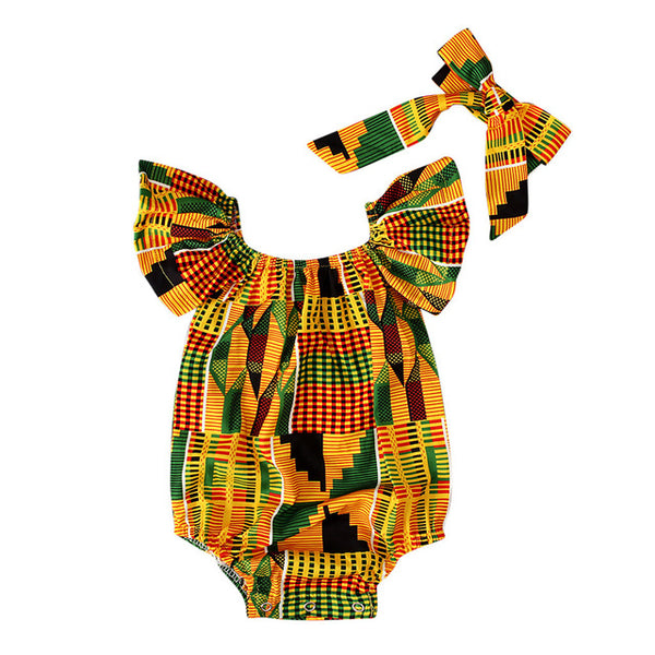 Baby Girls African Print Off Shoulder Onesie with Bow Headband - The Childrens Firm
