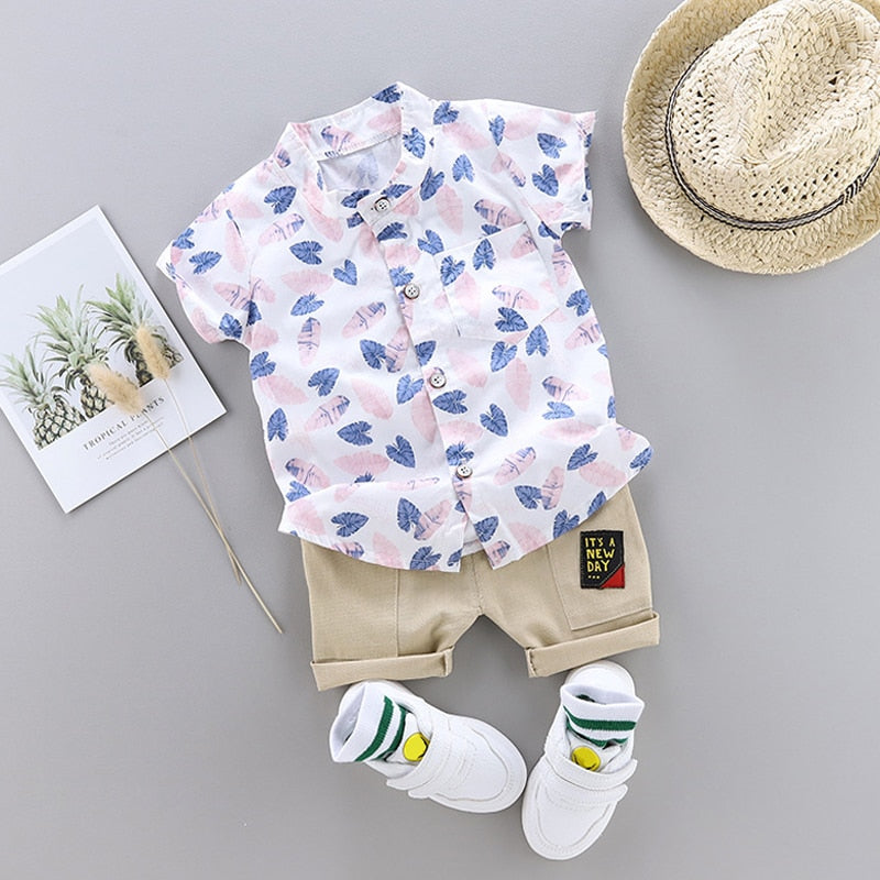 Toddler Baby Boy Summer Shirt Clothing Suit 2019 Fashion Leaf Print Set Children Infant Boys Clothes Set - The Childrens Firm
