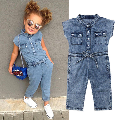 Girls Denim Jumpsuit - The Childrens Firm