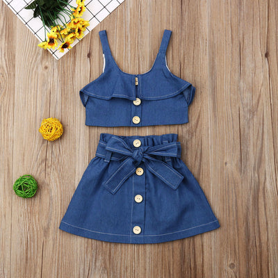 Denim Bow Button Set - The Childrens Firm