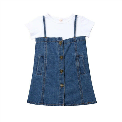 White Tshirt Jean Dress - The Childrens Firm
