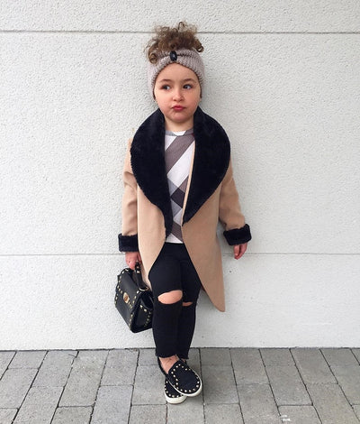 Patch Work Fur Trench Coat - The Childrens Firm