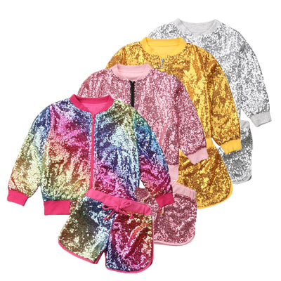 Glitz Sequin 2Pc Jacket/ Shorts Set - The Childrens Firm