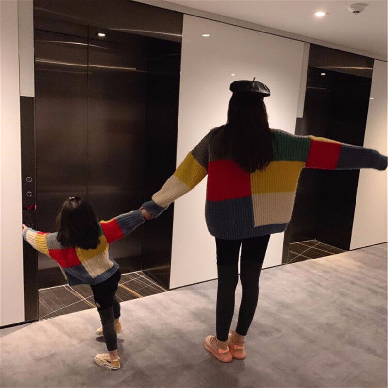 Retro ColorBlocking Matching Sweaters - The Childrens Firm