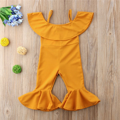 Off Shoulder Mustard JumpSuit - The Childrens Firm