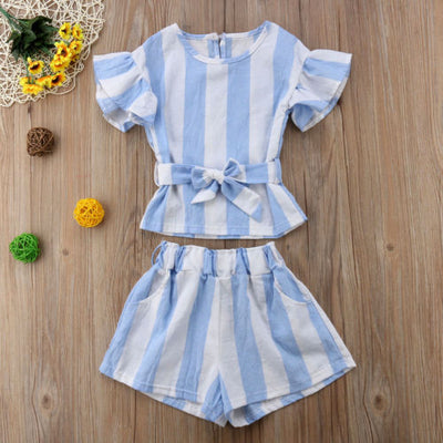 Baby Blue Striped 2 Pcs Shorts Set - The Childrens Firm