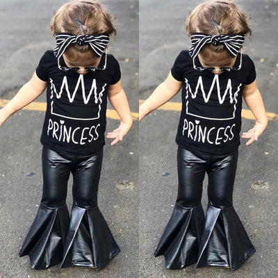 Black Faux Leather Princes Bell Bottom Set - The Childrens Firm