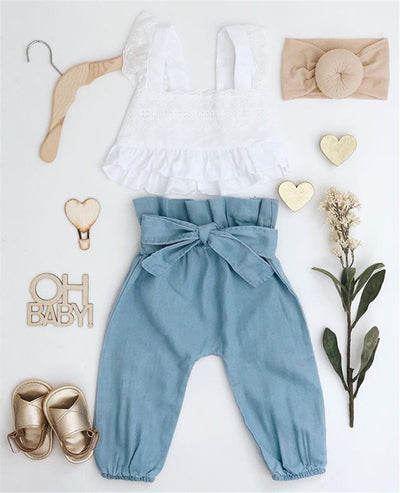 Chic White Blouse with Denim Harem Pants - The Childrens Firm