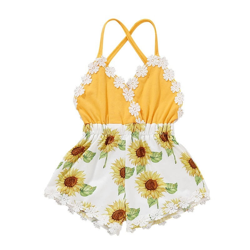 Sleeveless Sunflower Romper - The Childrens Firm