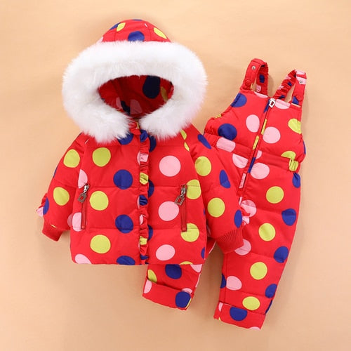 Dotsy Winter Fur Snow Overall Coat Set