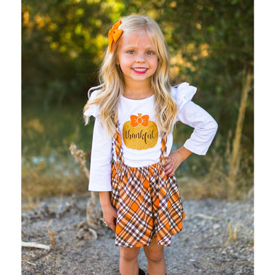 Thankful Plaid Suspender Dress - The Childrens Firm