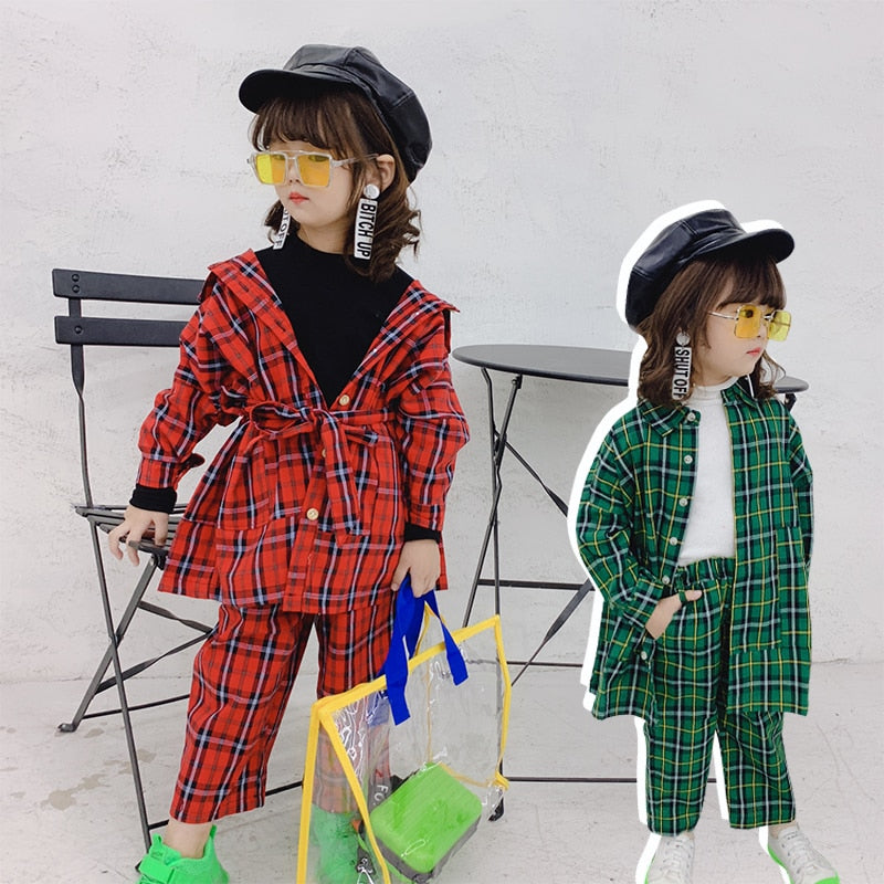 Plaid Vintage 2 Piece Girls Set