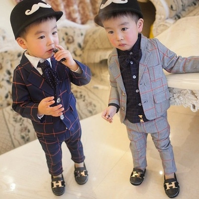 Baby gentleman Plaid Suit - The Childrens Firm