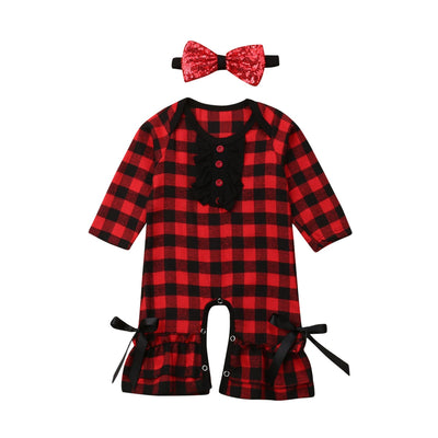 Red Plaid Long Sleeve Jumpsuit - The Childrens Firm