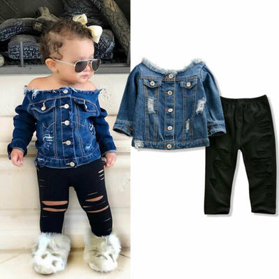 Denim Jean Off Shoulder Jacket+ Ripped Pants - The Childrens Firm