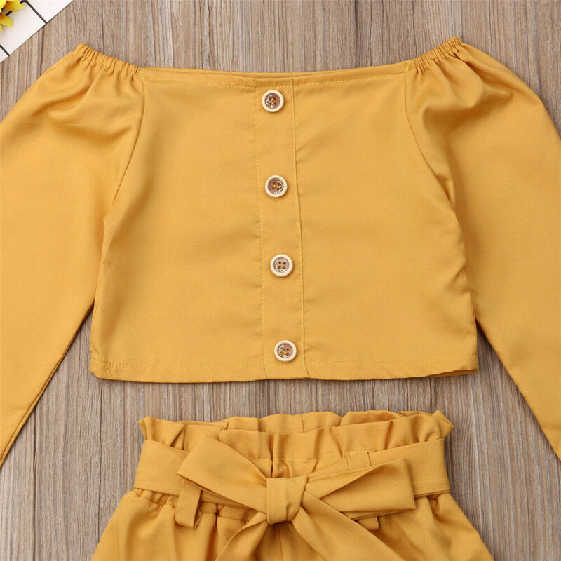 Yellow Off Shoulder 2 PCS Shorts Set - The Childrens Firm