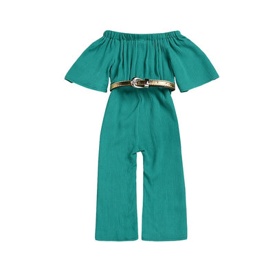 Off shoulder jumpsuit with Belt - The Childrens Firm
