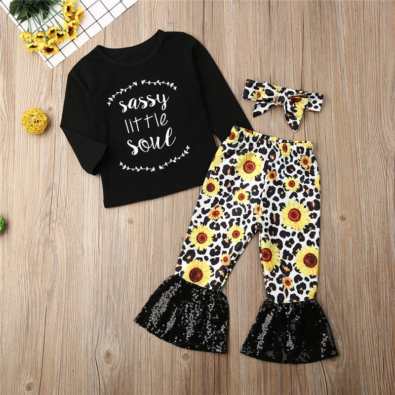 Sassy little Soul Sunflower Bell Botom Set - The Childrens Firm