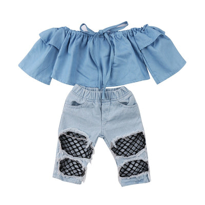 Off Shoulder Denim Blouse with Ripped Fishnet Jeans - The Childrens Firm