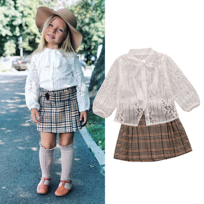 Lace Blouse With Plaid Skirt Set - The Childrens Firm