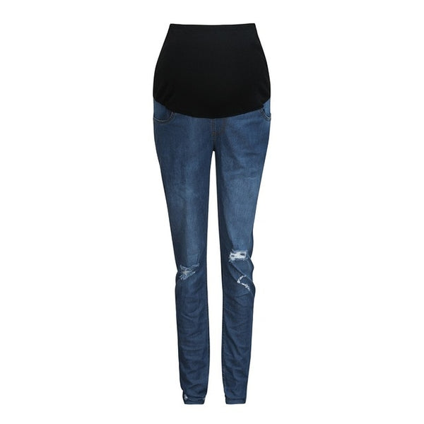 Ripped Denim Casual Maternity Pants - The Childrens Firm