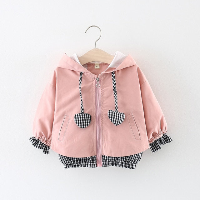 Checkered Heart Hooded Jacket - The Childrens Firm
