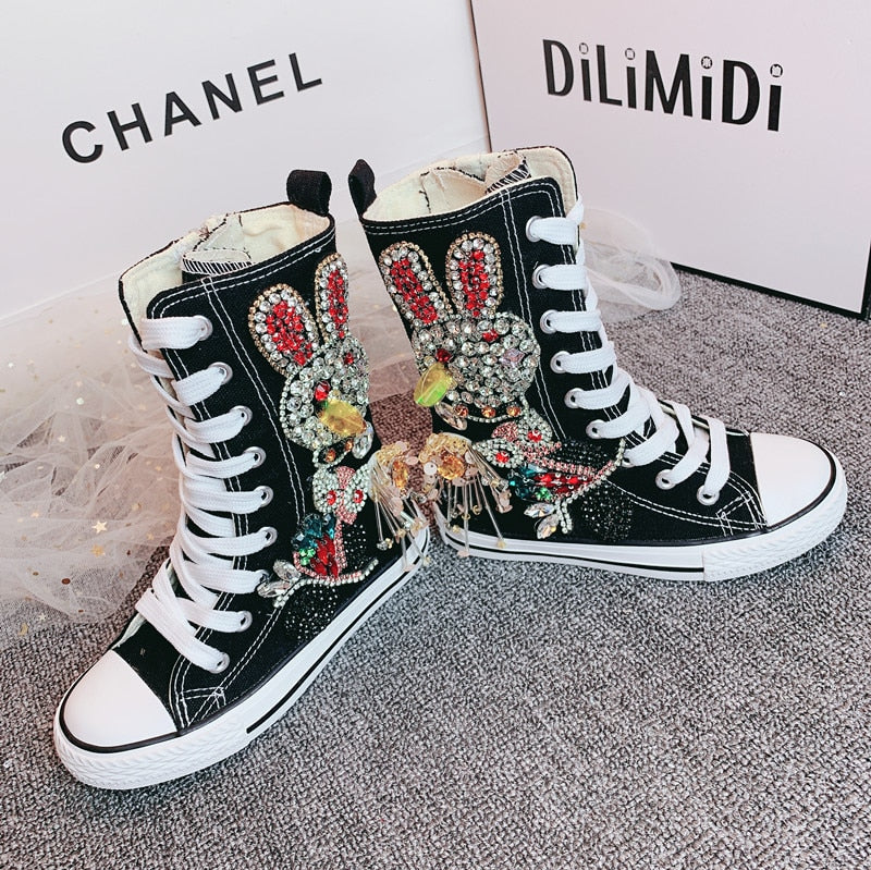 Super High Top Bejeweled Sneakers