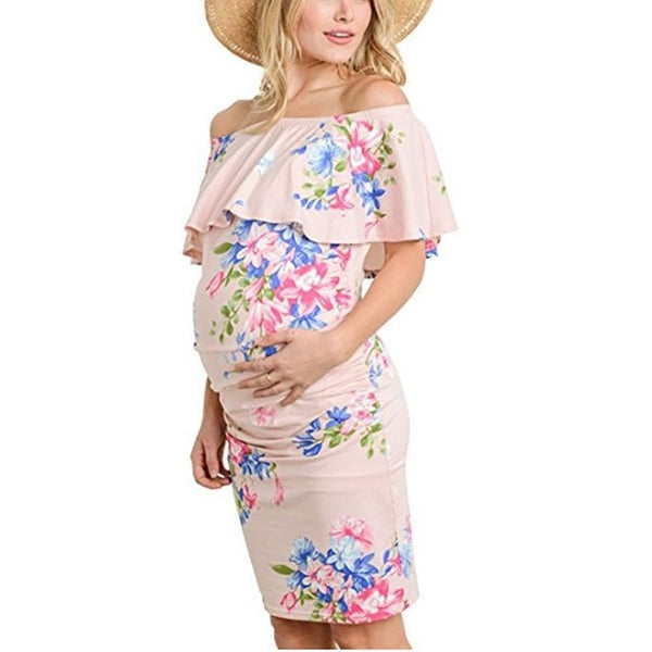 Shoulderless Floral Maternity Dress - The Childrens Firm