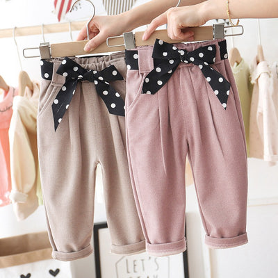Casual Glam Poka Dot Bow Trousers - The Childrens Firm
