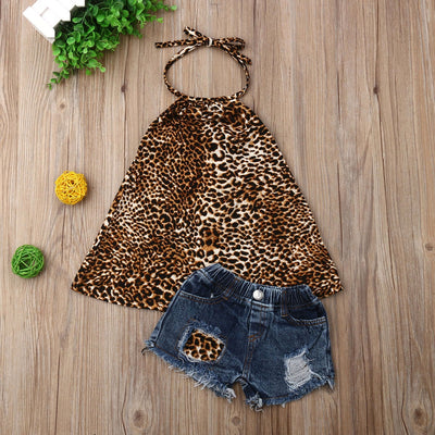 Leopard Jean Shorts Set - The Childrens Firm