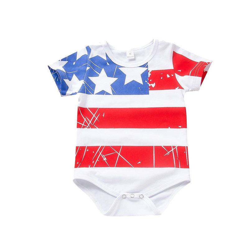 Fourth Of July Solid Romper - The Childrens Firm