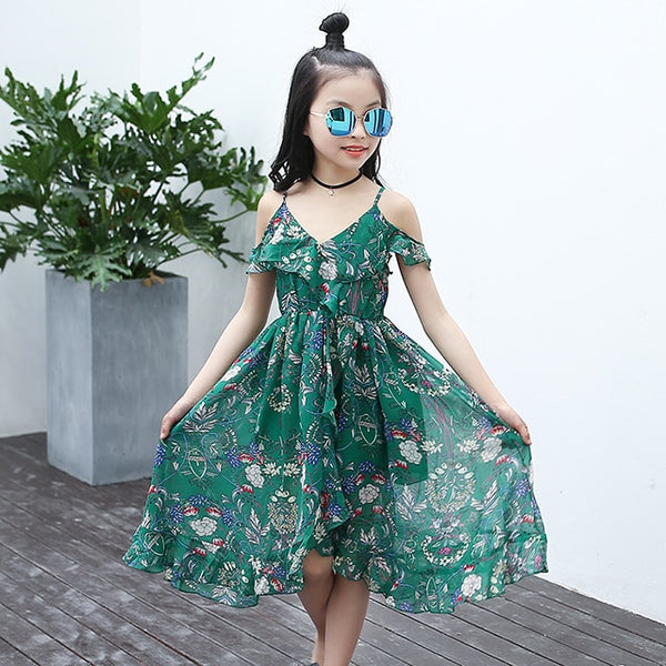 Green Boho Floral Dress - The Childrens Firm
