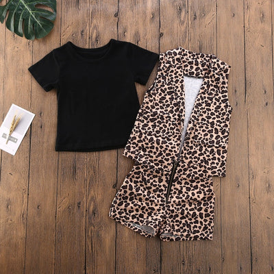 3PCS Sleeveless Leopard Set - The Childrens Firm