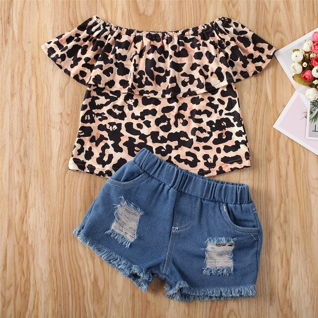 Leopard Off Shoulder Denim Set - The Childrens Firm