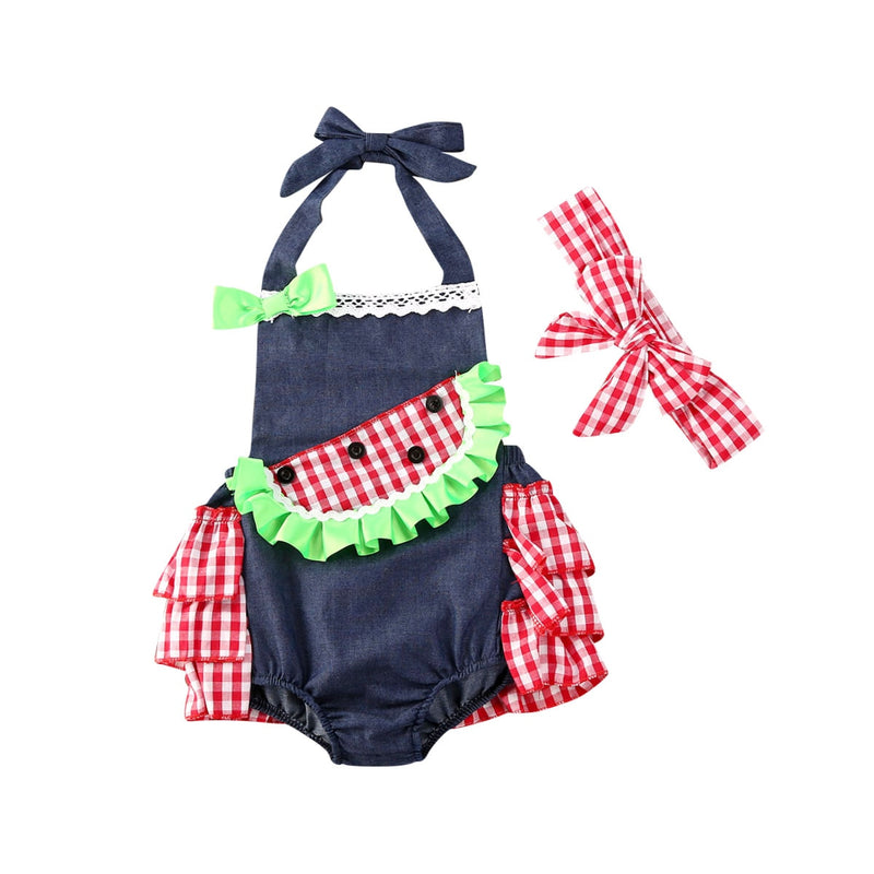 Watermelon Romper with Matching Headband - The Childrens Firm