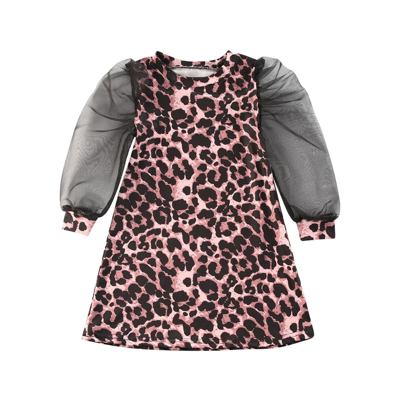 Leopard Mesh Classic Dress - The Childrens Firm