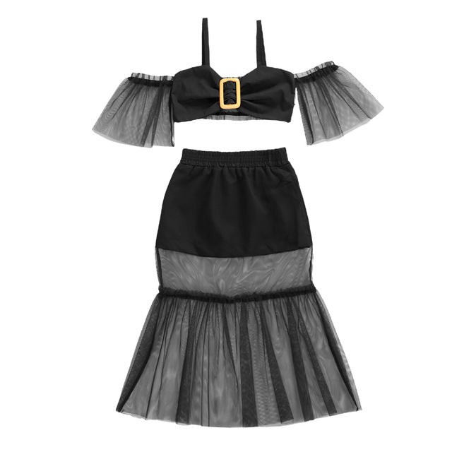 Trendy Mesh Off shoulder Skirt Set - The Childrens Firm