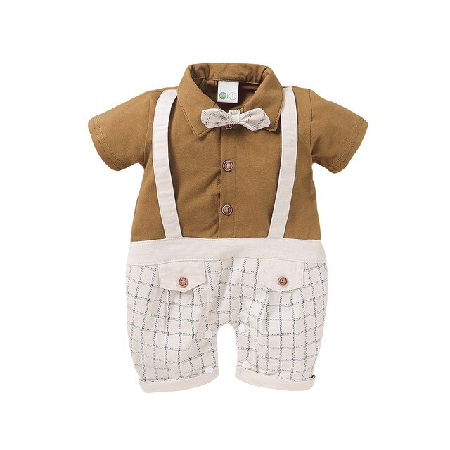Baby Gentleman Plaid Romper - The Childrens Firm
