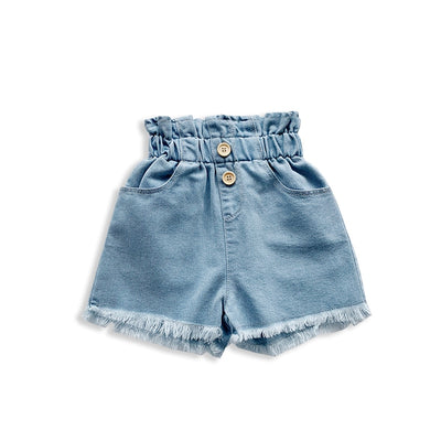 Elastic High Waist Denim Shorts - The Childrens Firm