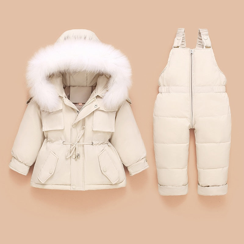 Winter Furr Warm Overall Coat Set