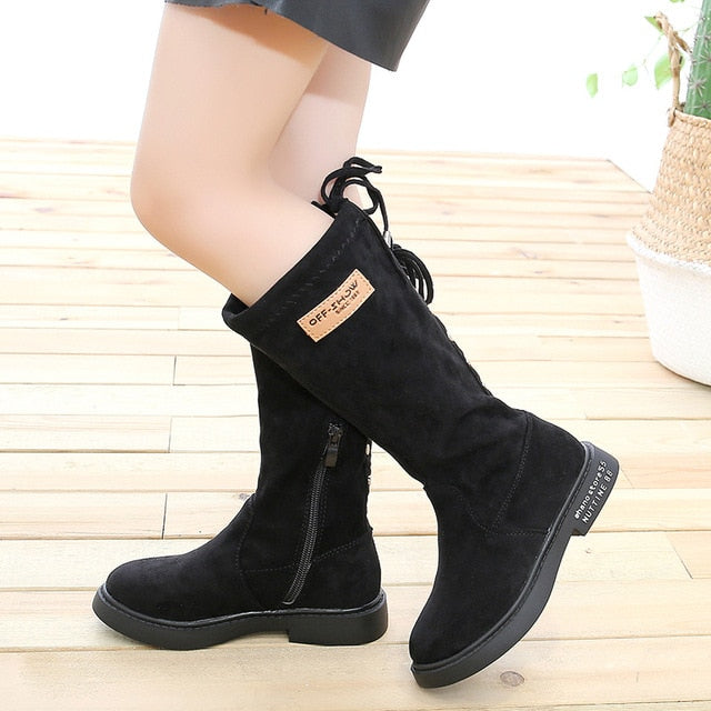 Knee High Back Tie Boots