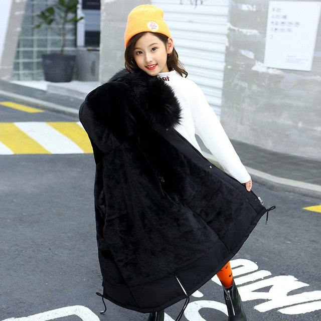Girls Hooded Fur Long Coat