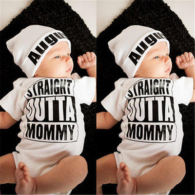 Straight Outta Mommy Hot sale White Newborn Baby Girl Boy Clothes Bodysuit - The Childrens Firm