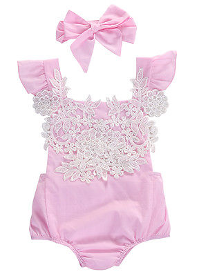 2 PCS Newborn Infant Baby Girls Sleeveles Pink & White Lace Onesie - The Childrens Firm