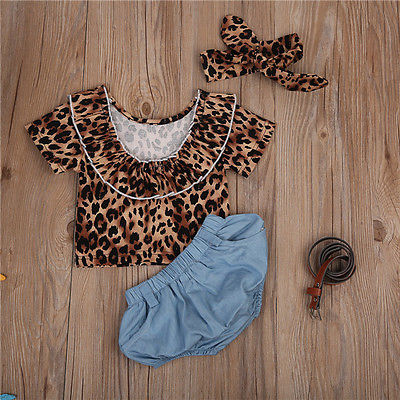 3pcs Baby Girls Leopard Outfit Set - The Childrens Firm