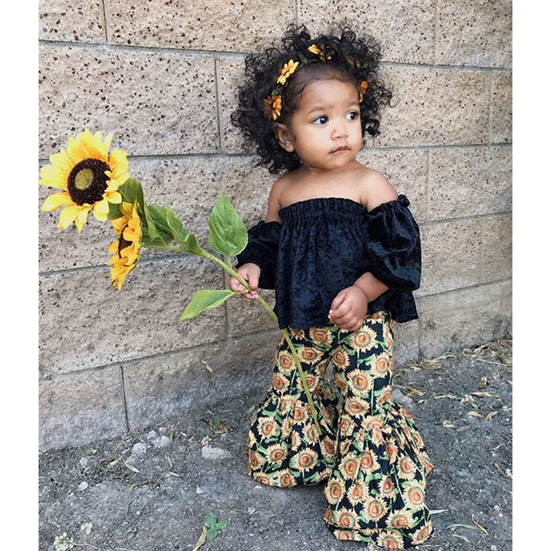 Velvet Tank Top +Sunflower Bell Bottoms - The Childrens Firm