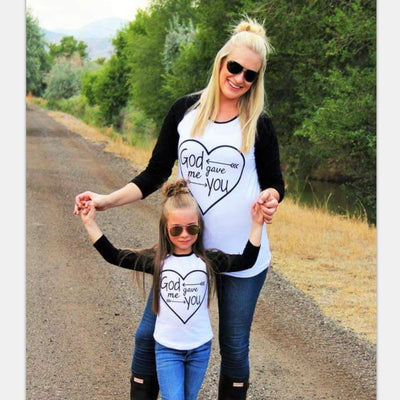 God gave me you long sleeve mom mommy and me Tee - The Childrens Firm