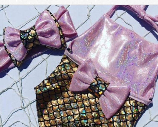 Pink Holographic Bathing Suit - The Childrens Firm