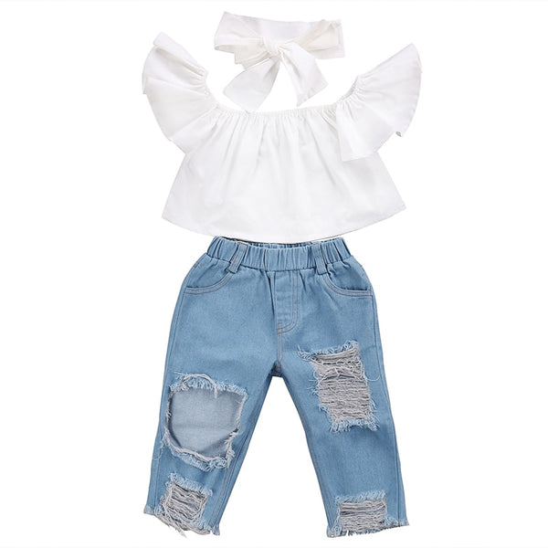 White Off shoulder top + Denim Jeans& Bow! - The Childrens Firm